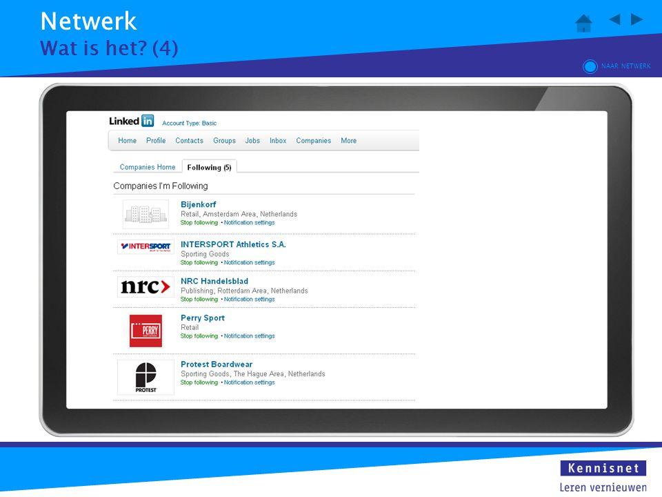 Netwerk Wat is het? (4) NAAR NETWERK