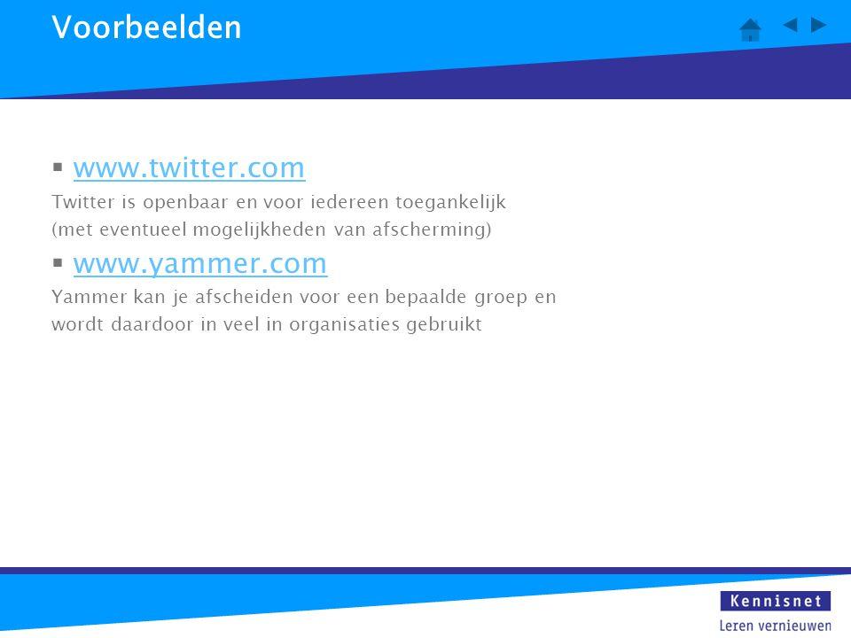 Voorbeelden  www.twitter.comwww.twitter.com Twitter is openbaar en voor iedereen toegankelijk (met eventueel mogelijkheden van afscherming)  www.yam