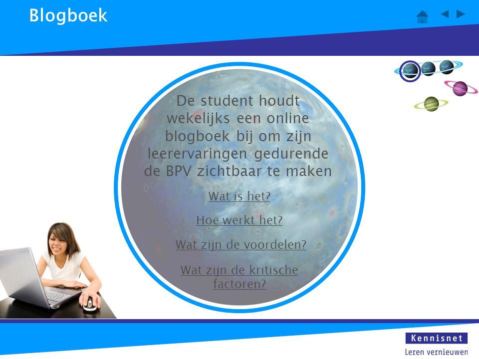 Blogboek Wat is het? Hoe werkt het? Wat zijn de voordelen? Wat zijn de kritische factoren? De student houdt wekelijks een online blogboek bij om zijn