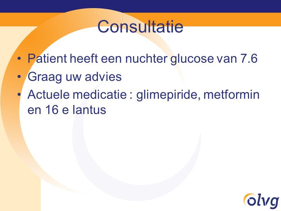 Consultatie Patient heeft een nuchter glucose van 7.6 Graag uw advies Actuele medicatie : glimepiride, metformin en 16 e lantus