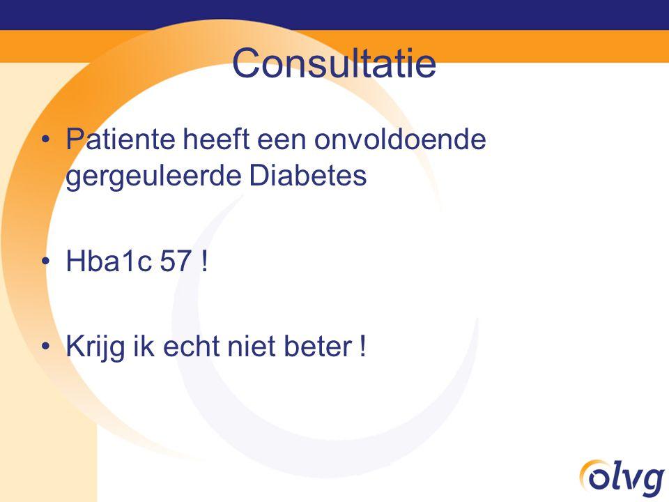 Consultatie Patiente heeft een onvoldoende gergeuleerde Diabetes Hba1c 57 .