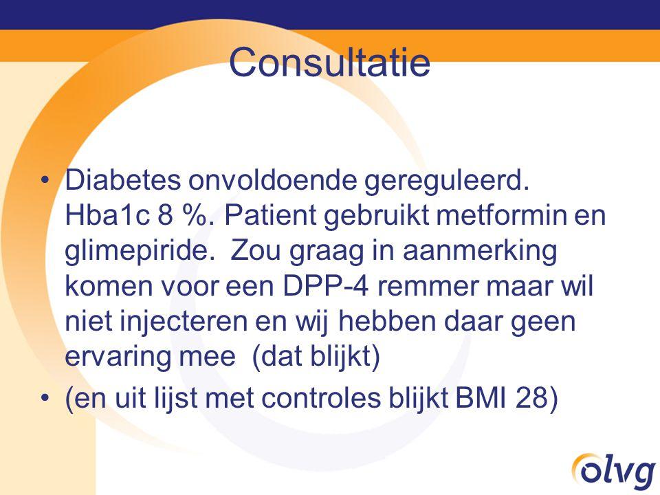 Consultatie Diabetes onvoldoende gereguleerd.Hba1c 8 %.