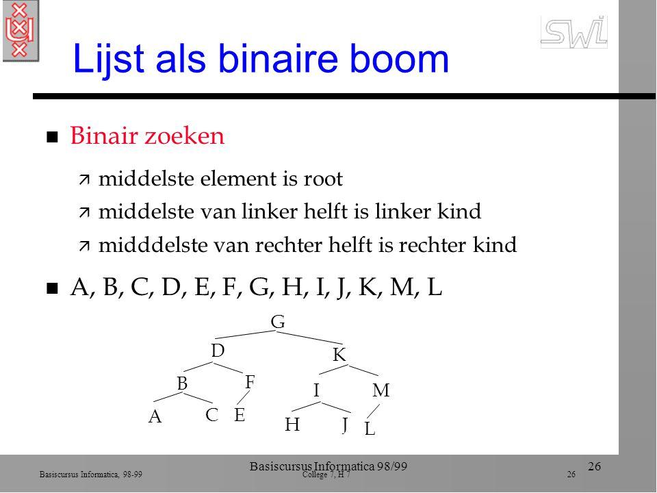 Basiscursus Informatica, 98-99 College 7, H 7 26 Basiscursus Informatica 98/9926 Lijst als binaire boom n Binair zoeken ä middelste element is root ä middelste van linker helft is linker kind ä midddelste van rechter helft is rechter kind n A, B, C, D, E, F, G, H, I, J, K, M, L G D K B A C IM HJ L E F