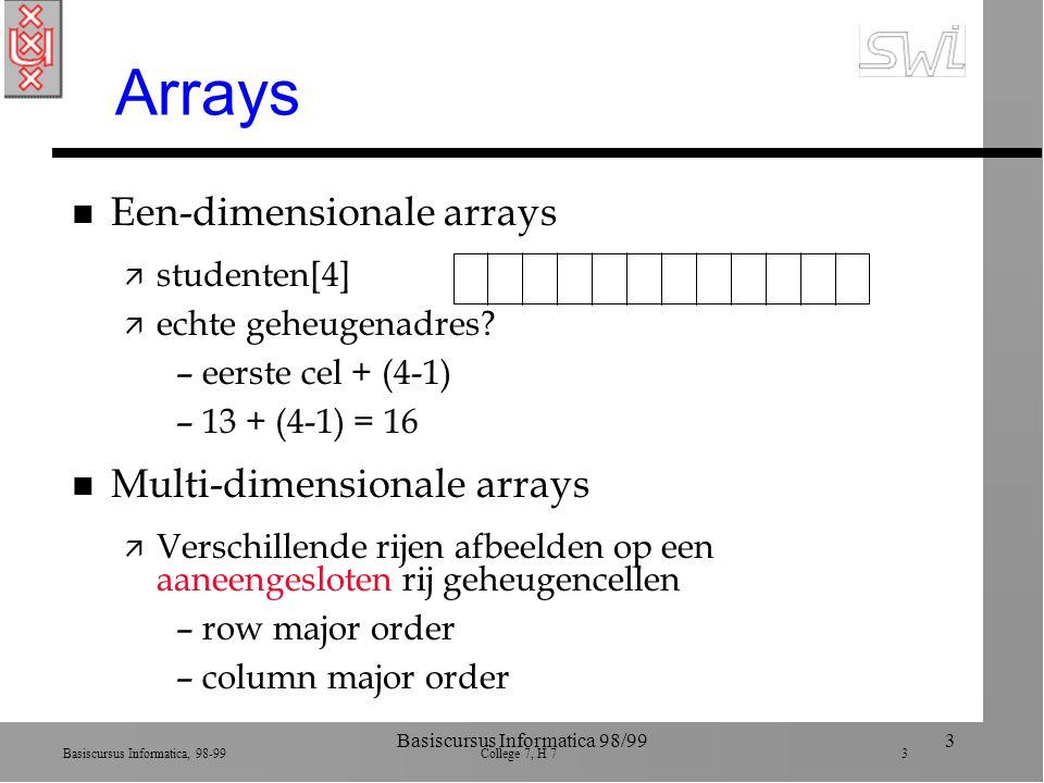 Basiscursus Informatica, 98-99 College 7, H 7 4 Basiscursus Informatica 98/994 Row major order Conceptueel Werkelijk rij1 rij2 rij3 rij4 rij1 rij2 rij3 rij4 X: 3de rij, 4de colom X X Algemeen: geheugenadres van bepaalde entry in array (C x (I - 1)) + (J - 1)C = #colommen, Ide rij, Jde colom (5 x (3 -1)) + (4 -1) = 13address polynomial