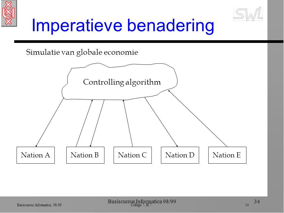 Basiscursus Informatica, 98-99 College 7, H 7 34 Basiscursus Informatica 98/9934 Imperatieve benadering Nation ANation BNation CNation DNation E Controlling algorithm Simulatie van globale economie