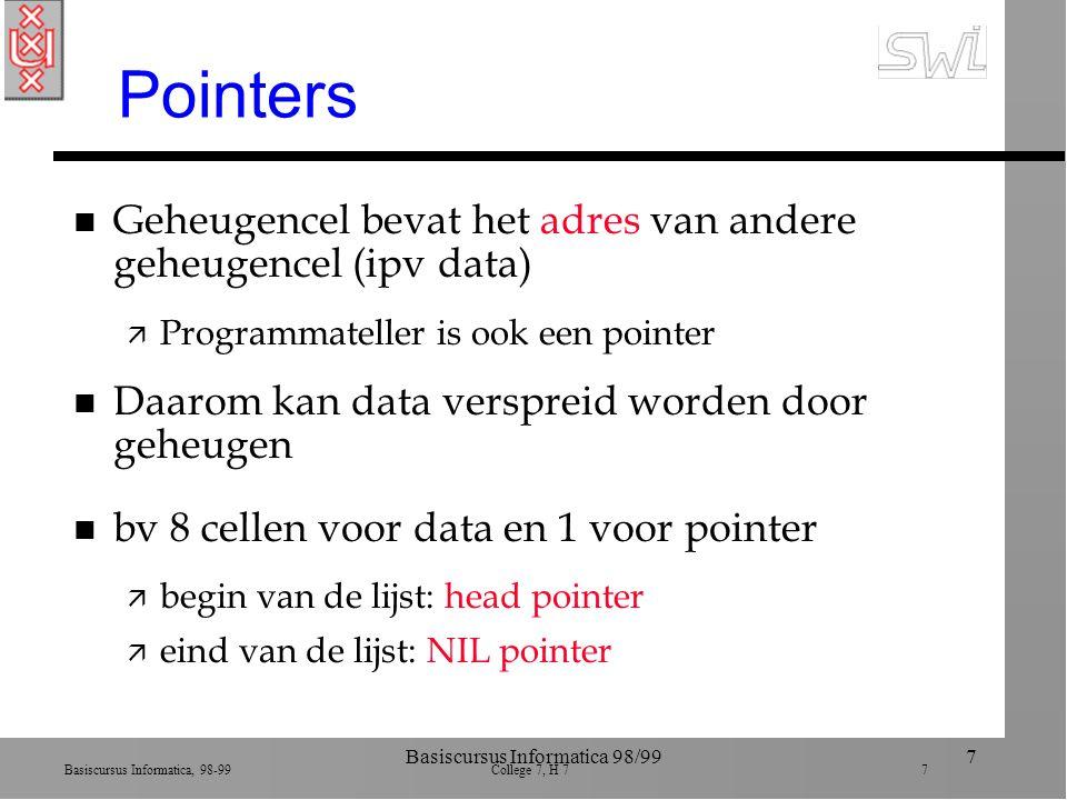 Basiscursus Informatica, 98-99 College 7, H 7 7 Basiscursus Informatica 98/997 Pointers n Geheugencel bevat het adres van andere geheugencel (ipv data) ä Programmateller is ook een pointer n Daarom kan data verspreid worden door geheugen n bv 8 cellen voor data en 1 voor pointer ä begin van de lijst: head pointer ä eind van de lijst: NIL pointer