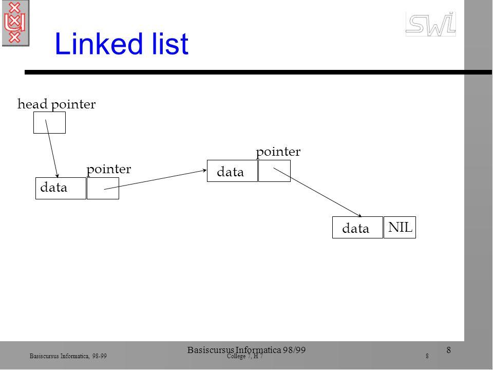 Basiscursus Informatica, 98-99 College 7, H 7 29 Basiscursus Informatica 98/9929 Abstract data types n Als customized data type, maar plus operaties ä zowel type als toegestane operaties n package StackPackage type StackOfIntegers record StackEntries: array[1..25] of integer; StackPointer: integer; end record; procedure push(Value: in integer;Stack: in out StackOfIntegers); procedure pop(Value: out integer; Stack: in out StackOfIntegers); end StackPackage; MyStack: StackOfIntegers push(106, MyStack) pop(OldValue, MyStack)