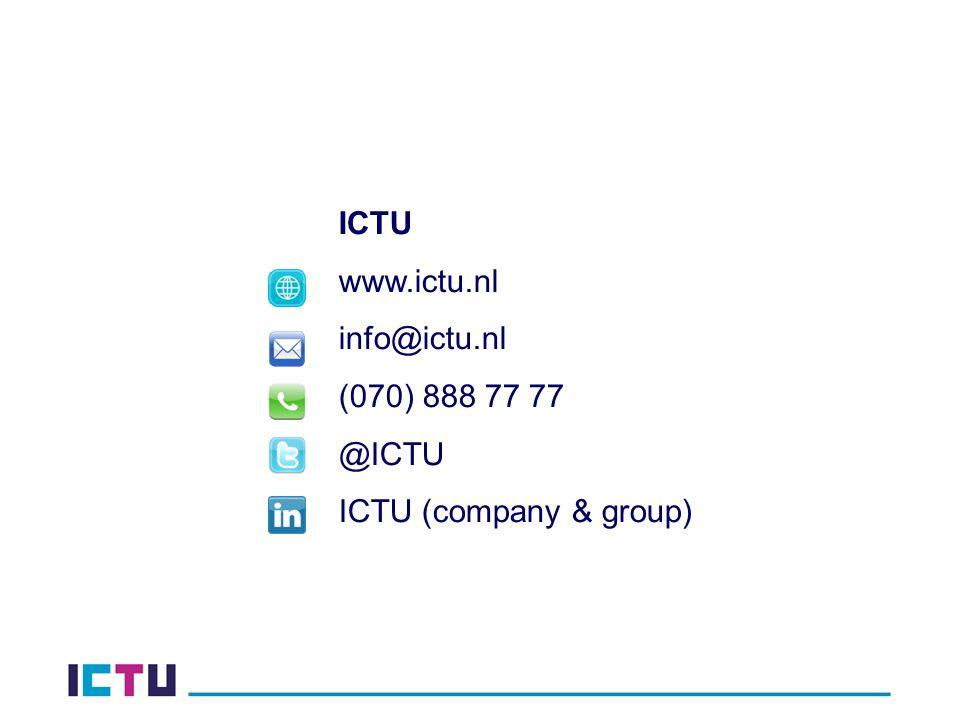 ICTU www.ictu.nl info@ictu.nl (070) 888 77 77 @ICTU ICTU (company & group)