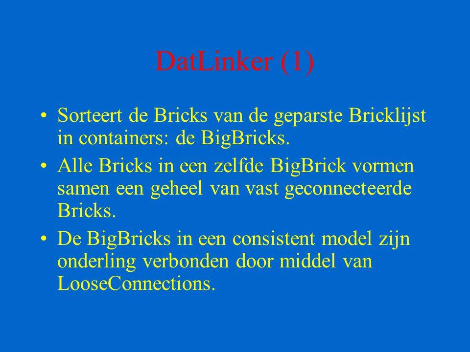 DatLinker (1) Sorteert de Bricks van de geparste Bricklijst in containers: de BigBricks. Alle Bricks in een zelfde BigBrick vormen samen een geheel va
