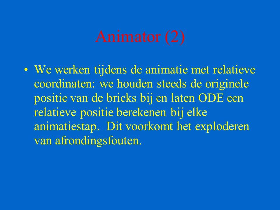 Animator (2) We werken tijdens de animatie met relatieve coordinaten: we houden steeds de originele positie van de bricks bij en laten ODE een relatie