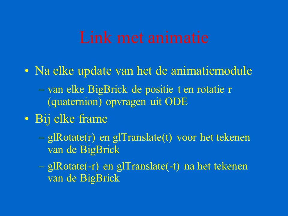 Link met animatie Na elke update van het de animatiemodule –van elke BigBrick de positie t en rotatie r (quaternion) opvragen uit ODE Bij elke frame –