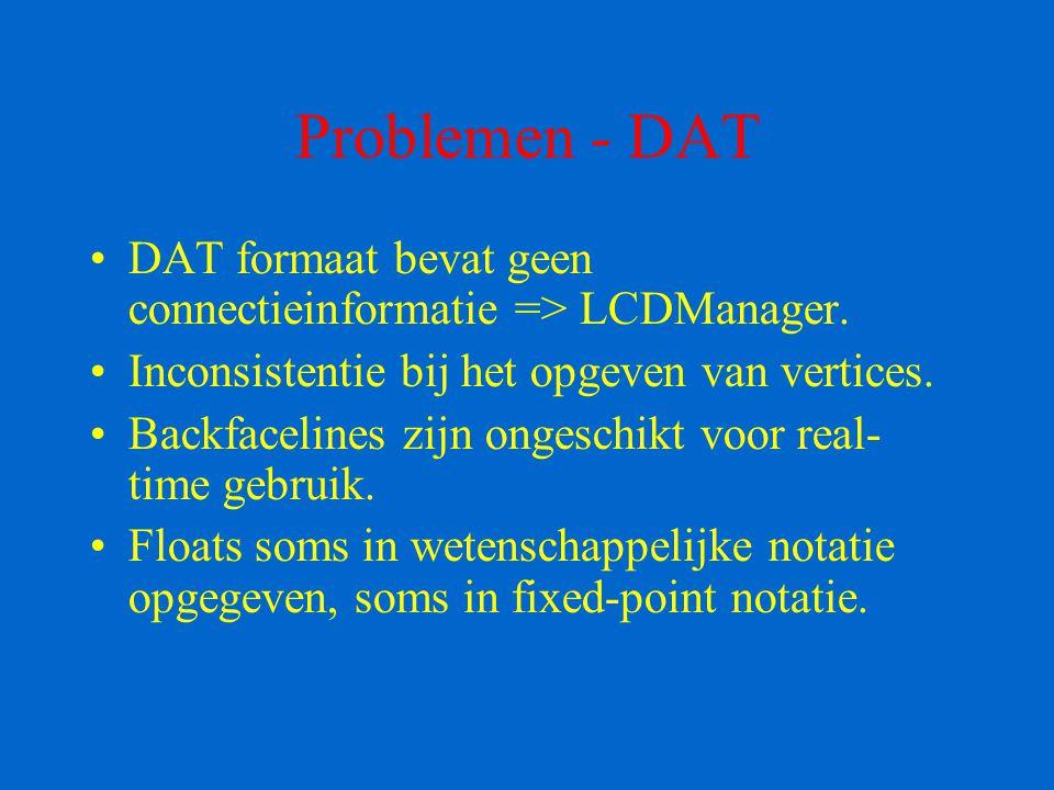 Problemen - DAT DAT formaat bevat geen connectieinformatie => LCDManager. Inconsistentie bij het opgeven van vertices. Backfacelines zijn ongeschikt v