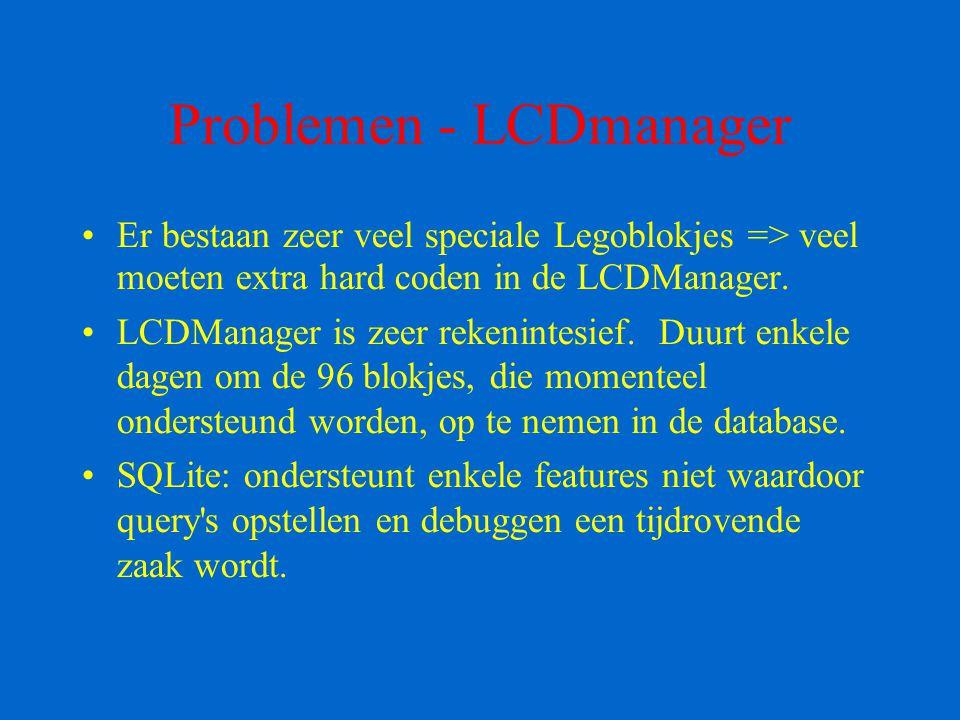 Problemen - LCDmanager Er bestaan zeer veel speciale Legoblokjes => veel moeten extra hard coden in de LCDManager. LCDManager is zeer rekenintesief. D