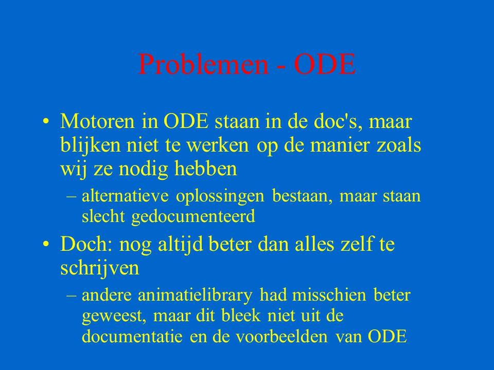 Problemen - ODE Motoren in ODE staan in de doc's, maar blijken niet te werken op de manier zoals wij ze nodig hebben –alternatieve oplossingen bestaan