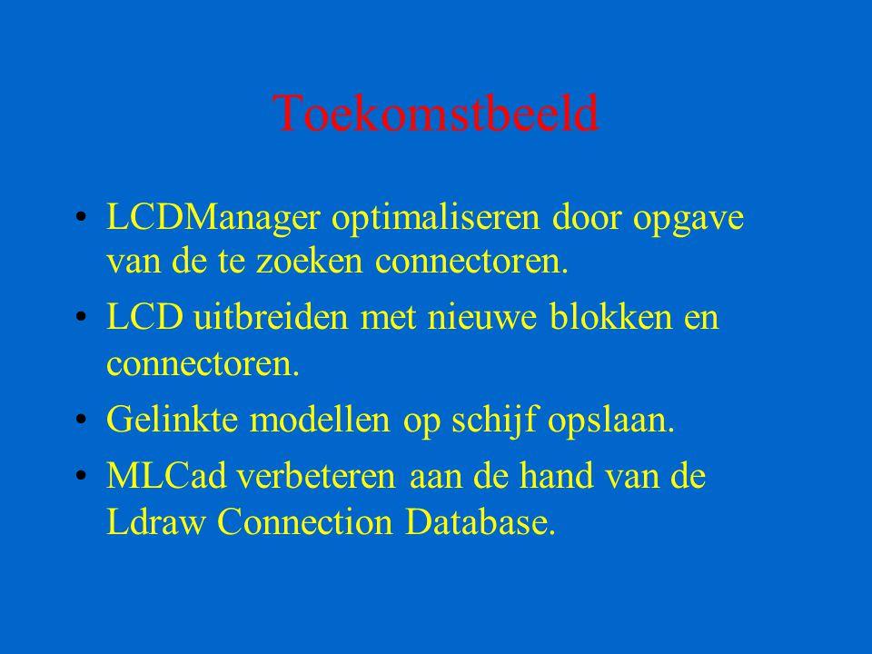 Toekomstbeeld LCDManager optimaliseren door opgave van de te zoeken connectoren. LCD uitbreiden met nieuwe blokken en connectoren. Gelinkte modellen o