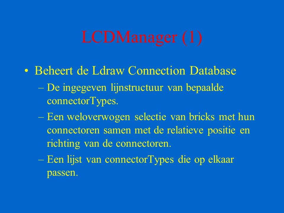 LCDManager (2) Maakt mogelijk om de lijnstuctuur van een bepaald connectorType in te geven met behulp van het klikalgoritme en om deze lijnstructuur op te slaan.