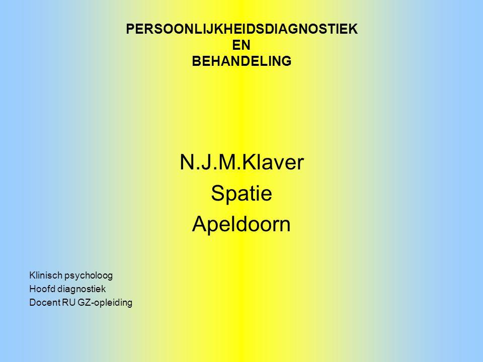 PERSOONLIJKHEIDSDIAGNOSTIEK EN BEHANDELING N.J.M.Klaver Spatie Apeldoorn Klinisch psycholoog Hoofd diagnostiek Docent RU GZ-opleiding