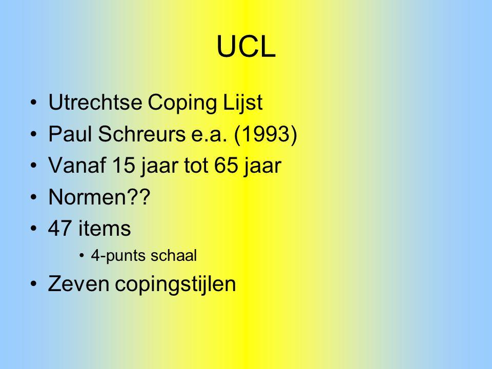 UCL Utrechtse Coping Lijst Paul Schreurs e.a. (1993) Vanaf 15 jaar tot 65 jaar Normen?? 47 items 4-punts schaal Zeven copingstijlen