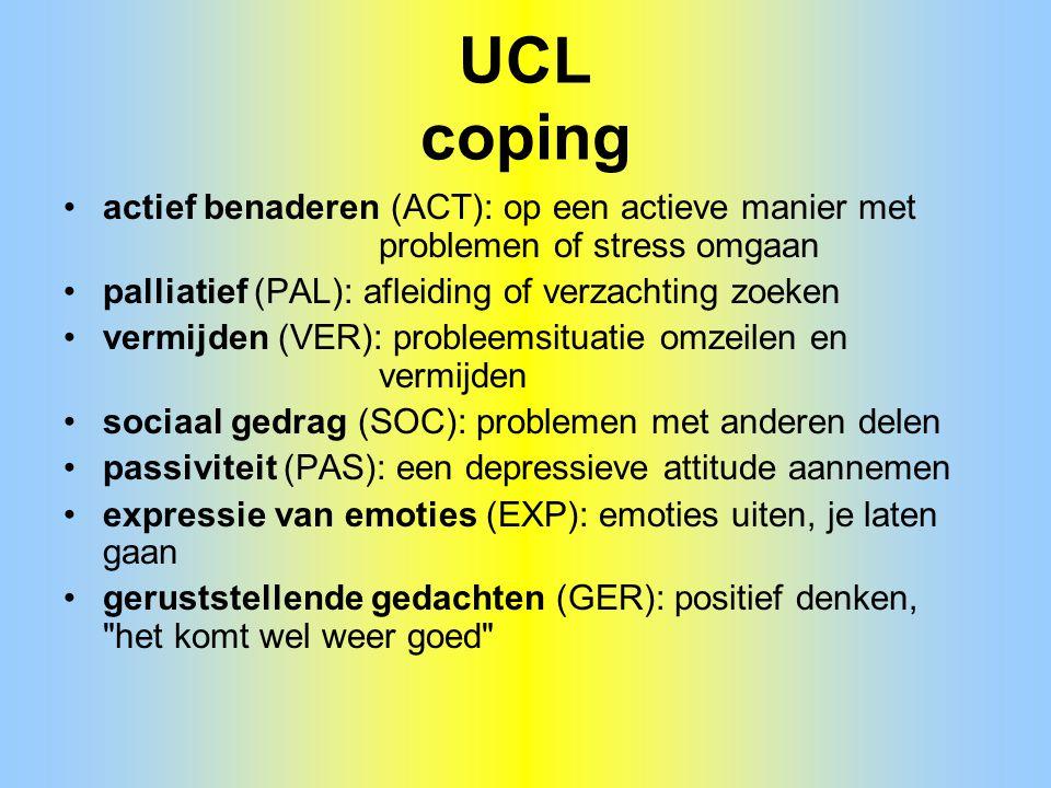 UCL coping actief benaderen (ACT): op een actieve manier met problemen of stress omgaan palliatief (PAL): afleiding of verzachting zoeken vermijden (V