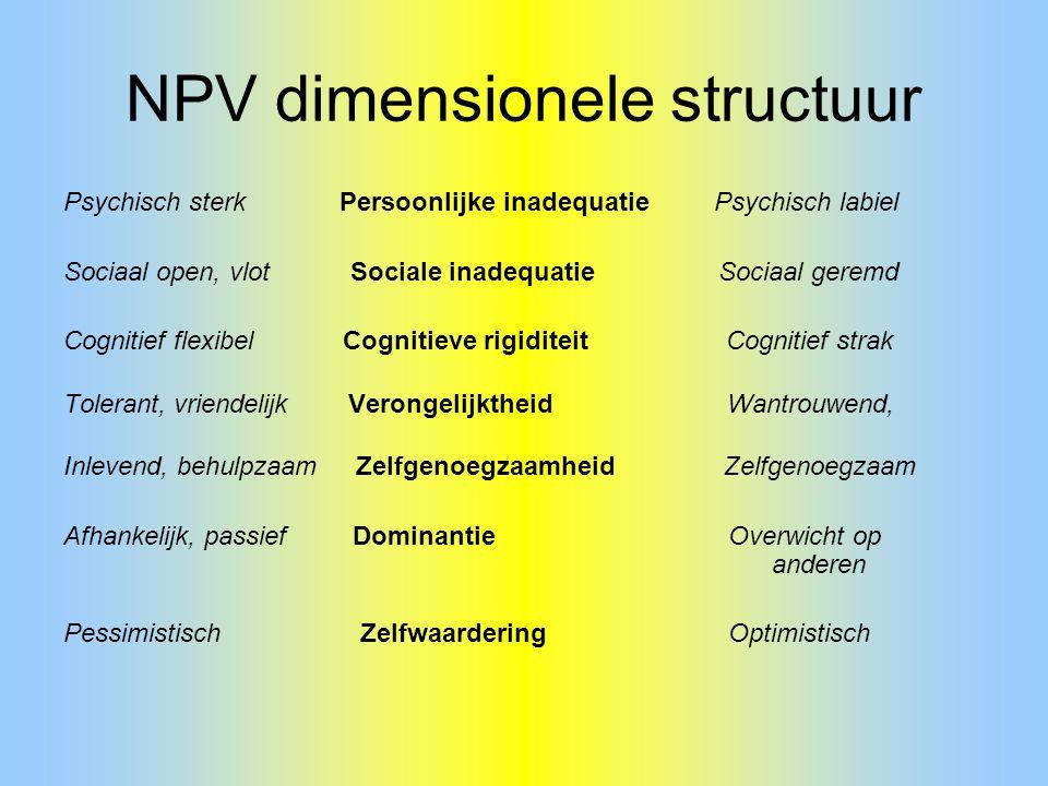 NPV dimensionele structuur Psychisch sterk Persoonlijke inadequatie Psychisch labiel Sociaal open, vlot Sociale inadequatie Sociaal geremd Cognitief f