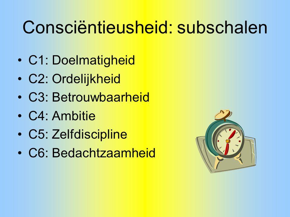 Consciëntieusheid: subschalen C1: Doelmatigheid C2: Ordelijkheid C3: Betrouwbaarheid C4: Ambitie C5: Zelfdiscipline C6: Bedachtzaamheid