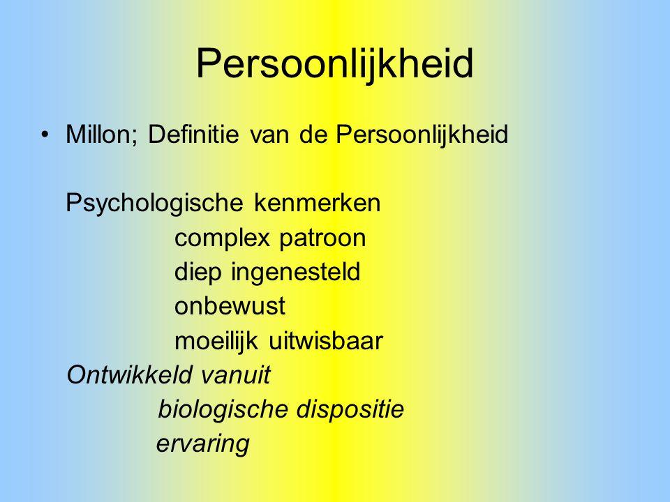 Persoonlijkheid Millon; Definitie van de Persoonlijkheid Psychologische kenmerken complex patroon diep ingenesteld onbewust moeilijk uitwisbaar Ontwik