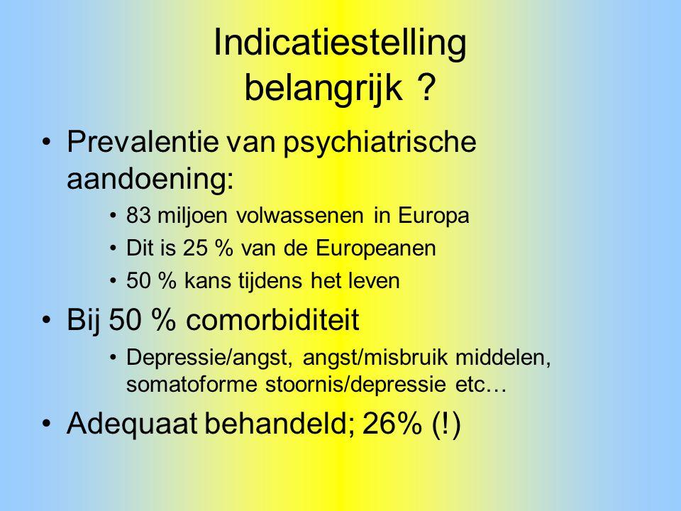 Indicatiestelling belangrijk ? Prevalentie van psychiatrische aandoening: 83 miljoen volwassenen in Europa Dit is 25 % van de Europeanen 50 % kans tij