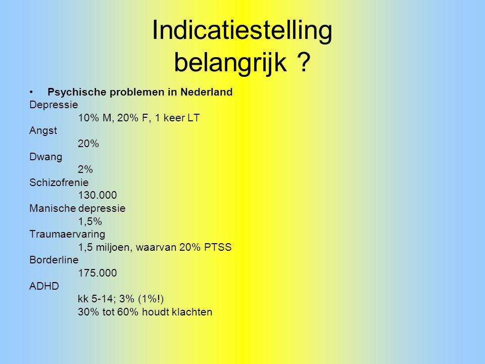 Indicatiestelling belangrijk ? Psychische problemen in Nederland Depressie 10% M, 20% F, 1 keer LT Angst 20% Dwang 2% Schizofrenie 130.000 Manische de