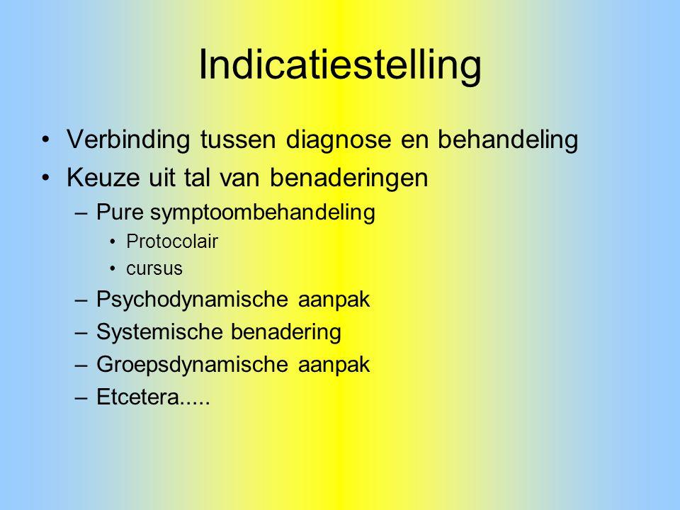 Indicatiestelling Verbinding tussen diagnose en behandeling Keuze uit tal van benaderingen –Pure symptoombehandeling Protocolair cursus –Psychodynamis
