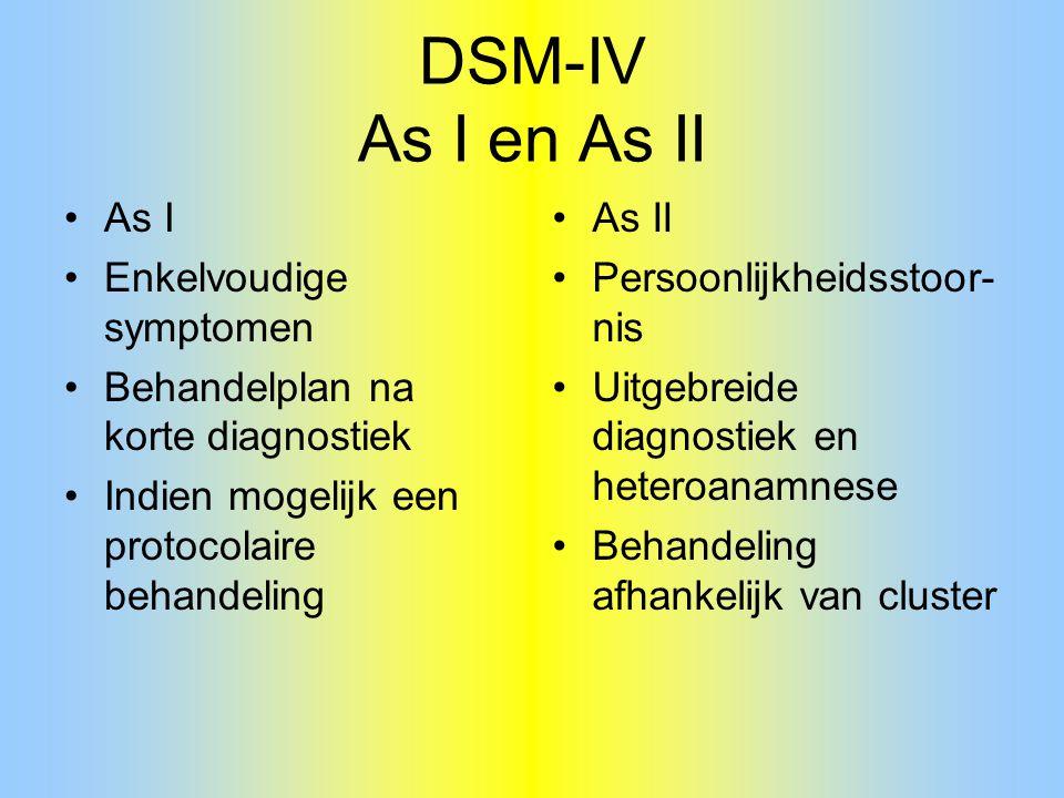DSM-IV As I en As II As I Enkelvoudige symptomen Behandelplan na korte diagnostiek Indien mogelijk een protocolaire behandeling As II Persoonlijkheids