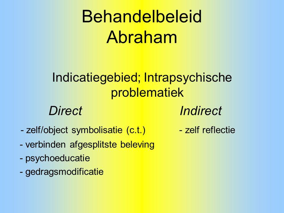 Behandelbeleid Abraham Indicatiegebied; Intrapsychische problematiek Direct Indirect - zelf/object symbolisatie (c.t.) - zelf reflectie - verbinden af