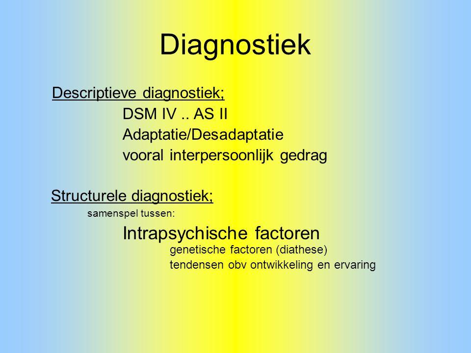 Diagnostiek Descriptieve diagnostiek; DSM IV.. AS II Adaptatie/Desadaptatie vooral interpersoonlijk gedrag Structurele diagnostiek; samenspel tussen: