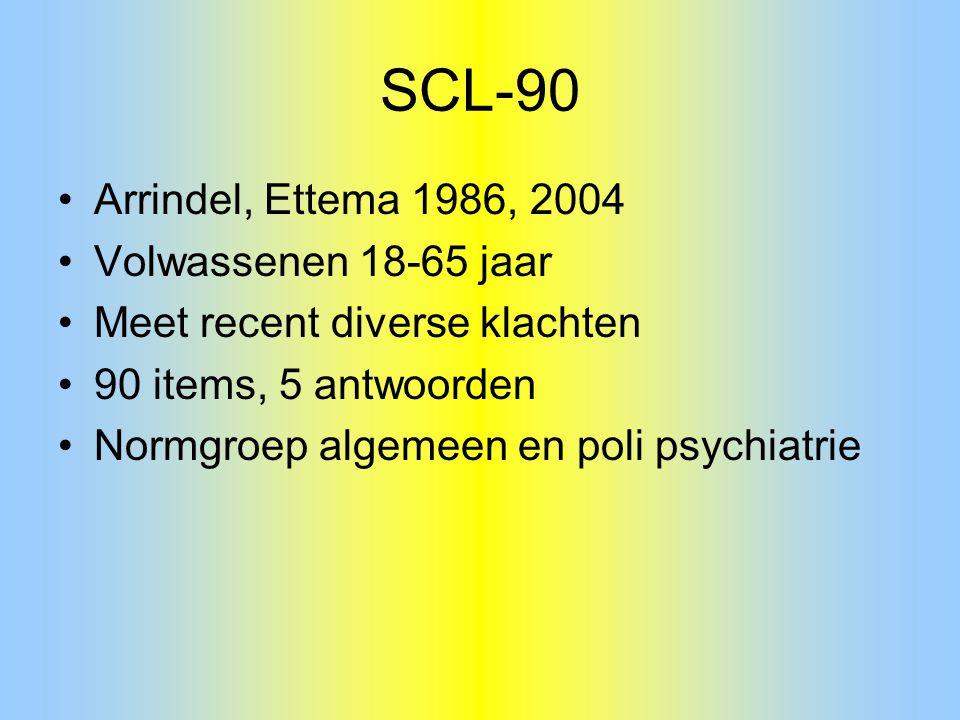 SCL-90 Arrindel, Ettema 1986, 2004 Volwassenen 18-65 jaar Meet recent diverse klachten 90 items, 5 antwoorden Normgroep algemeen en poli psychiatrie