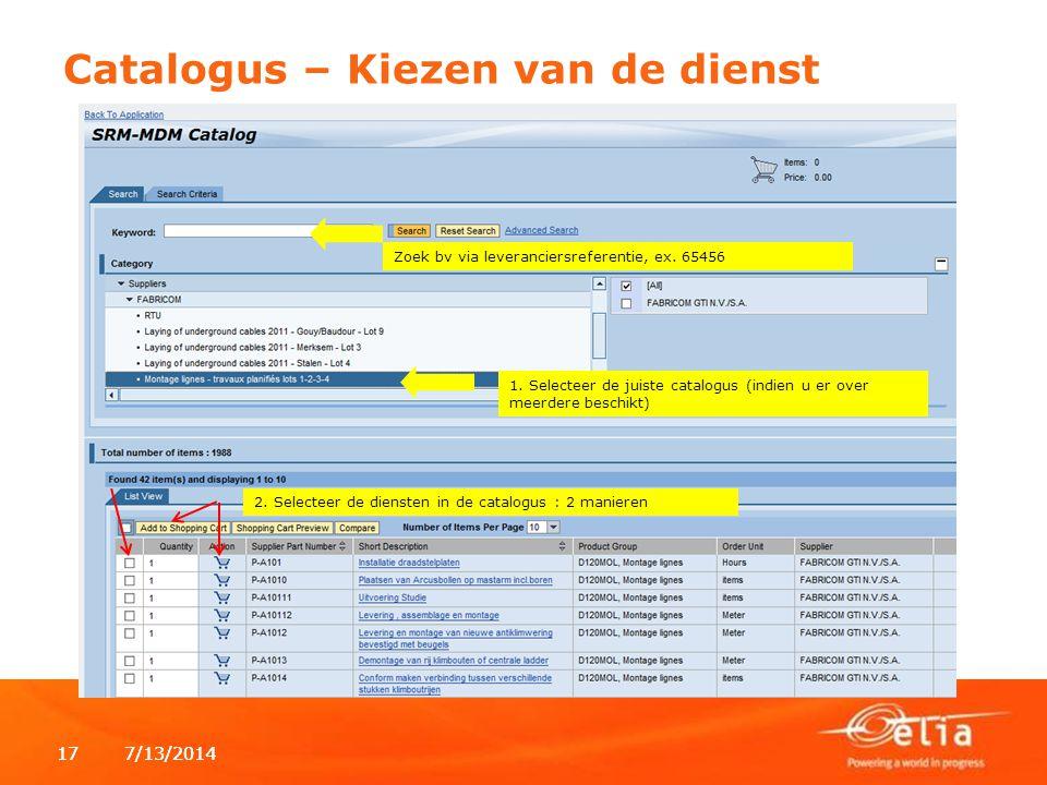 7/13/2014177/13/201417 1. Selecteer de juiste catalogus (indien u er over meerdere beschikt) 2.