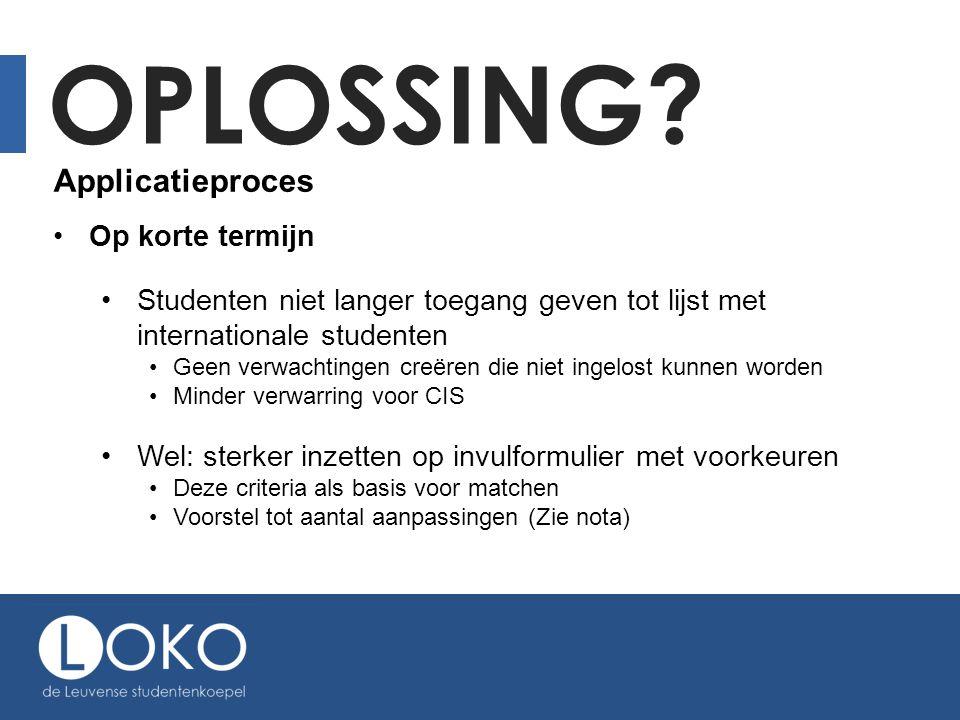 OPLOSSING? Applicatieproces Op korte termijn Studenten niet langer toegang geven tot lijst met internationale studenten Geen verwachtingen creëren die