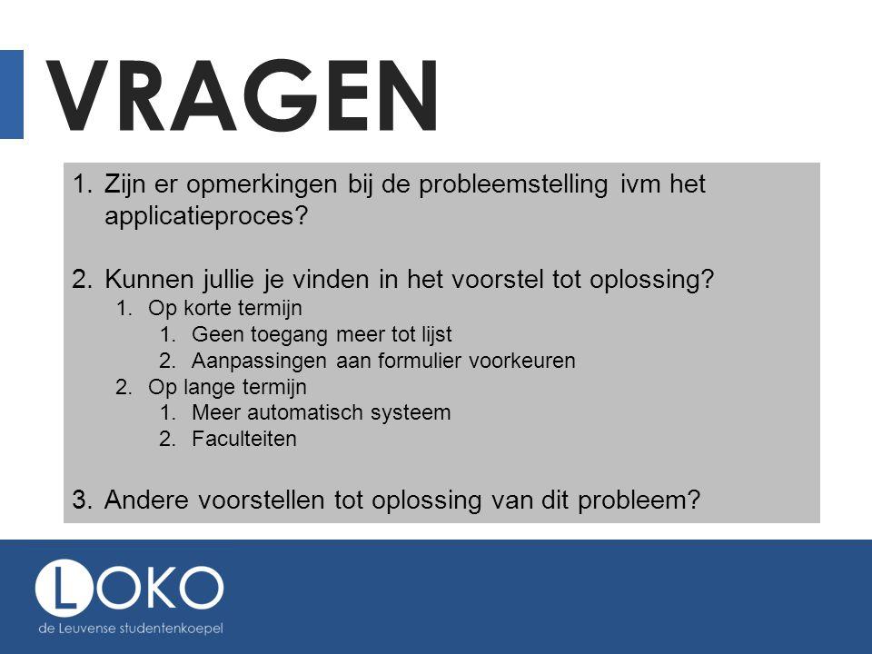 VRAGEN 1. Zijn er opmerkingen bij de probleemstelling ivm het applicatieproces? 2. Kunnen jullie je vinden in het voorstel tot oplossing? 1. Op korte