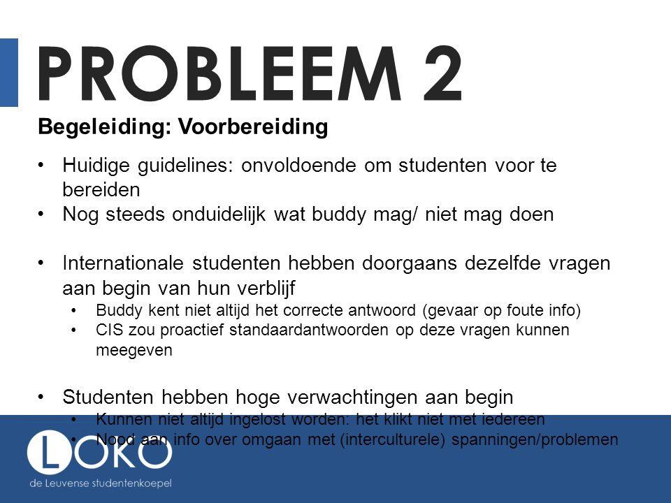 PROBLEEM 2 Begeleiding: Voorbereiding Huidige guidelines: onvoldoende om studenten voor te bereiden Nog steeds onduidelijk wat buddy mag/ niet mag doe