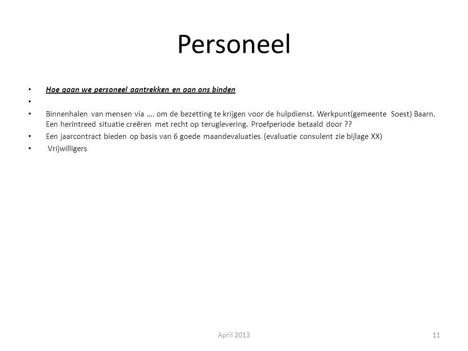 Personeel Hoe gaan we personeel aantrekken en aan ons binden Binnenhalen van mensen via ….