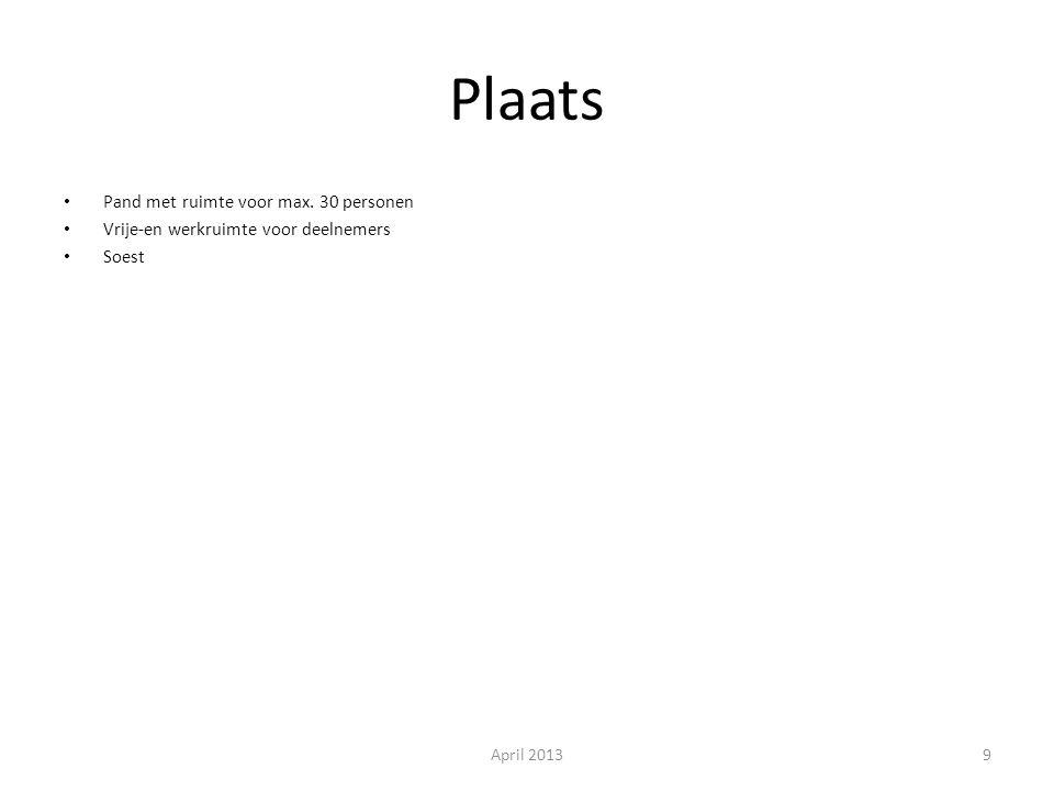 Plaats Pand met ruimte voor max. 30 personen Vrije-en werkruimte voor deelnemers Soest April 20139