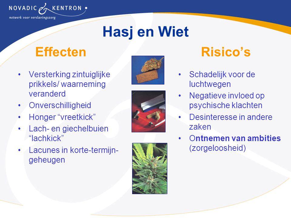 """Effecten Risico's Versterking zintuiglijke prikkels/ waarneming veranderd Onverschilligheid Honger """"vreetkick"""" Lach- en giechelbuien """"lachkick"""" Lacune"""