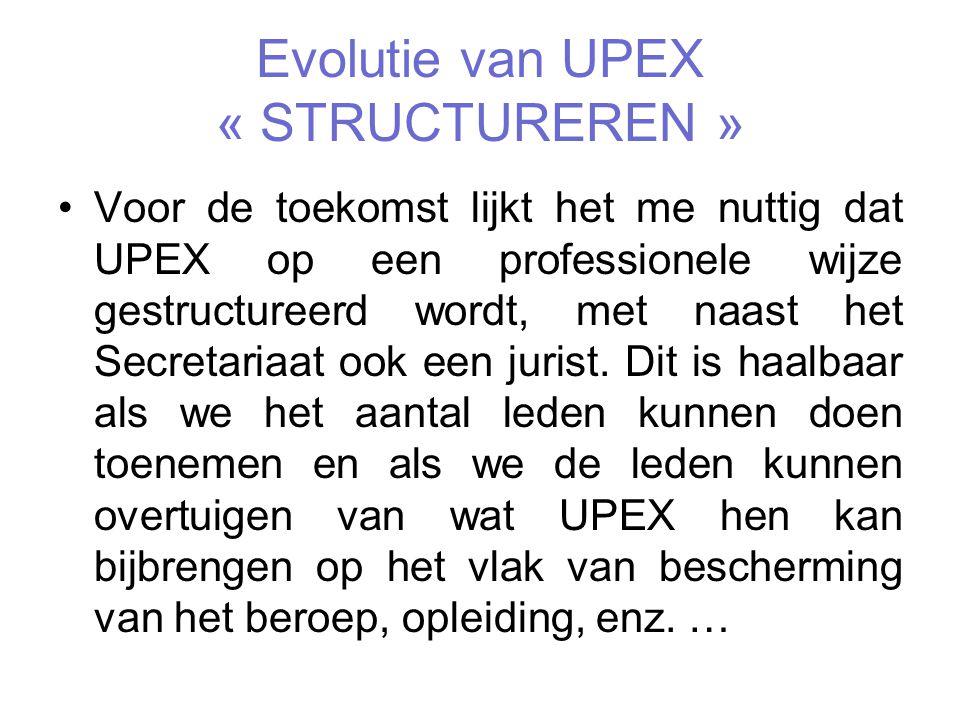 Evolutie van UPEX « STRUCTUREREN » Voor de toekomst lijkt het me nuttig dat UPEX op een professionele wijze gestructureerd wordt, met naast het Secretariaat ook een jurist.