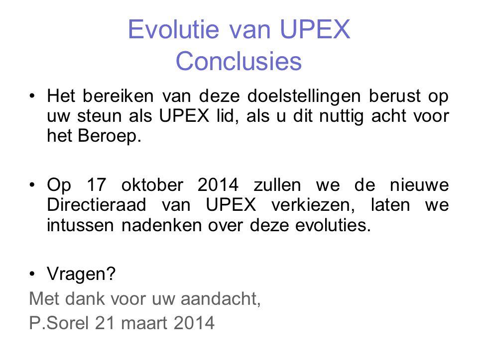 Evolutie van UPEX Conclusies Het bereiken van deze doelstellingen berust op uw steun als UPEX lid, als u dit nuttig acht voor het Beroep.