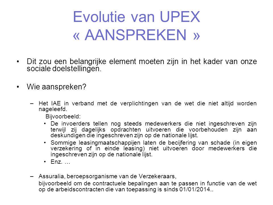 Evolutie van UPEX « LOBBYEN » Dit is vooral gericht op de officiële Instanties en onze rol in verband met verkeersveiligheid: Bijvoorbeeld: -De evolutie van het KB van 1968 dat niet altijd rekening houdt met de technologische ontwikkelingen bij de verplichte aangifte van de technische keuring.