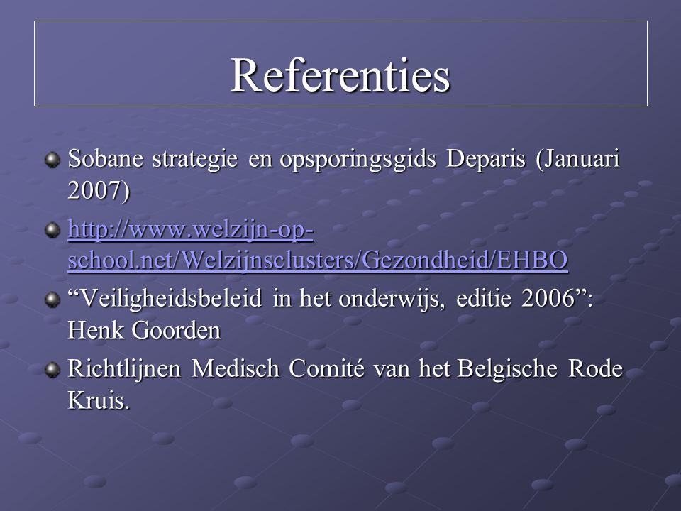 Referenties Sobane strategie en opsporingsgids Deparis (Januari 2007) http://www.welzijn-op- school.net/Welzijnsclusters/Gezondheid/EHBO http://www.we