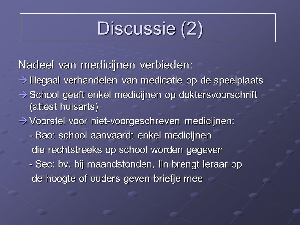 Discussie (2) Nadeel van medicijnen verbieden:  Illegaal verhandelen van medicatie op de speelplaats  School geeft enkel medicijnen op doktersvoorsc