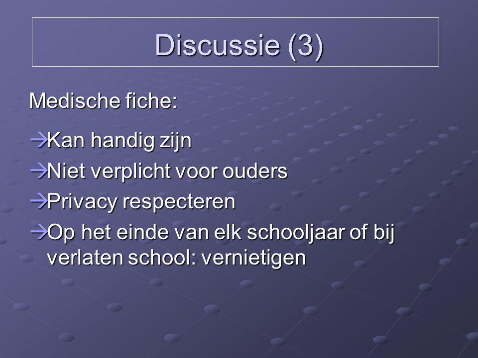 Discussie (3) Medische fiche:  Kan handig zijn  Niet verplicht voor ouders  Privacy respecteren  Op het einde van elk schooljaar of bij verlaten s