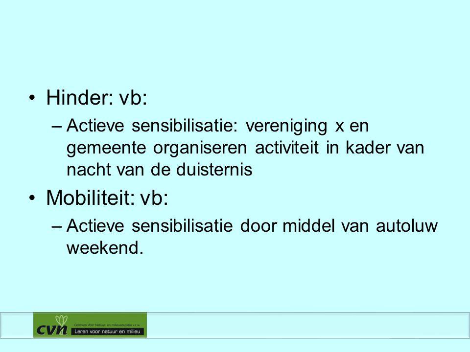 Hinder: vb: –Actieve sensibilisatie: vereniging x en gemeente organiseren activiteit in kader van nacht van de duisternis Mobiliteit: vb: –Actieve sensibilisatie door middel van autoluw weekend.