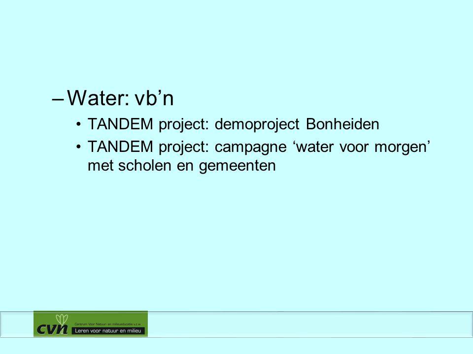 –Water: vb'n TANDEM project: demoproject Bonheiden TANDEM project: campagne 'water voor morgen' met scholen en gemeenten