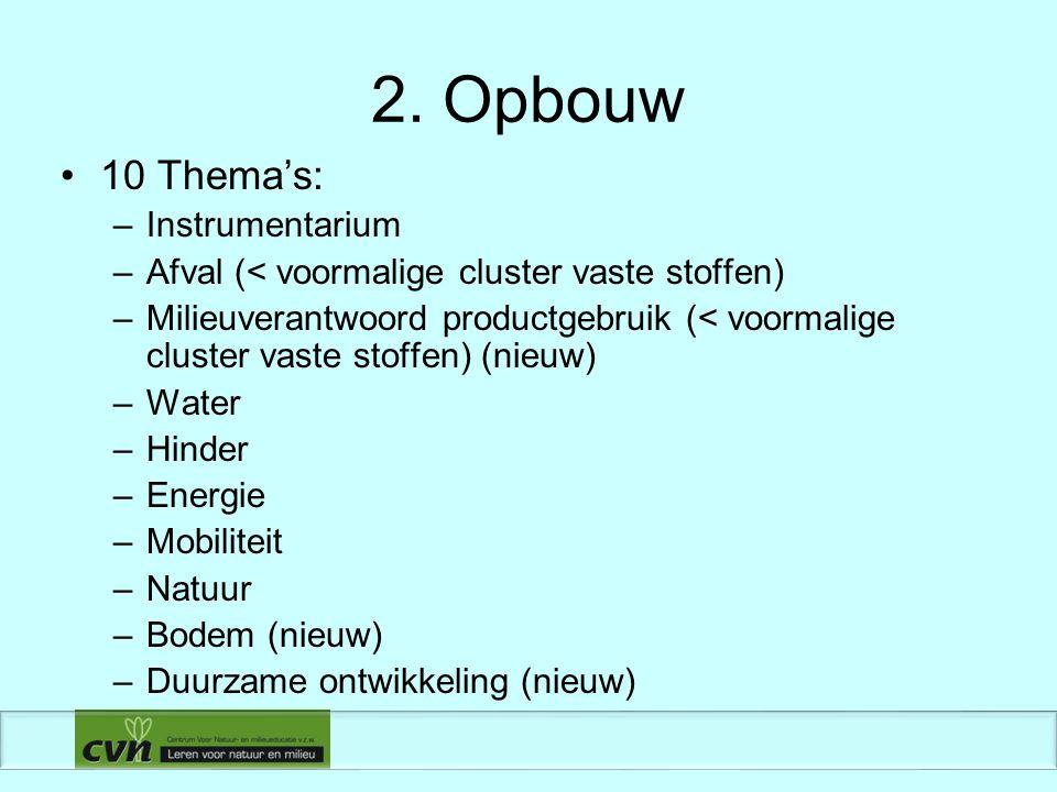 2. Opbouw 10 Thema's: –Instrumentarium –Afval (< voormalige cluster vaste stoffen) –Milieuverantwoord productgebruik (< voormalige cluster vaste stoff