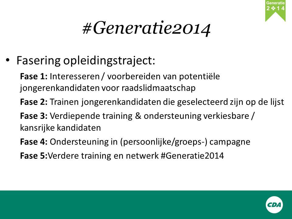 #Generatie2014 Fasering opleidingstraject: Fase 1: Interesseren / voorbereiden van potentiële jongerenkandidaten voor raadslidmaatschap Fase 2: Trainen jongerenkandidaten die geselecteerd zijn op de lijst Fase 3: Verdiepende training & ondersteuning verkiesbare / kansrijke kandidaten Fase 4: Ondersteuning in (persoonlijke/groeps-) campagne Fase 5:Verdere training en netwerk #Generatie2014